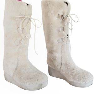 TORY BURCH faux shearling fur lace up winter boots